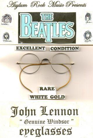 Beatles Lennon Antique Vintage Windsor Round Eyeglasses Rare White Gold photo