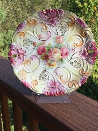 German Porcelain Plate - Iridescent Pierced Embossed Cabinet Plate Roses Scrolls photo