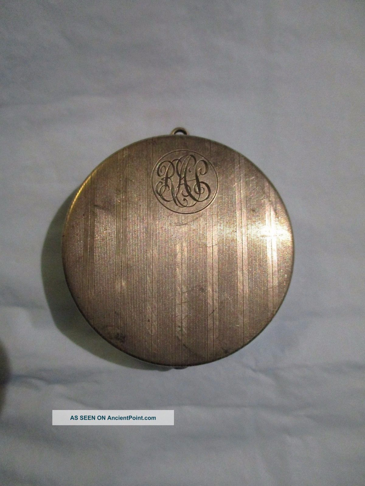 Vintage Sterling Silver Round Shape Pill Box Hinged 14.  20 Grams Monogrammed Boxes photo
