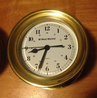 West Marine Trident Bimini Clock Brass photo