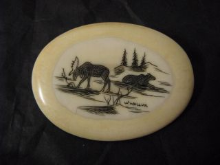 Wilbur Walluk Inuit Vintage Scrimshaw Pin,  Artist Signed photo