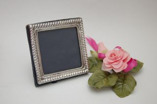 Lovely 3.  5 Inch Square Hallmarked Solid Silver Photo Photograph Frame 1992 Rh photo