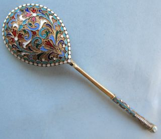 Fine Imperial Russian Silver Enamel Serving Spoon,  1886 Moscow photo