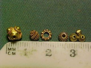 Seven Sassanian Gold Beads Circa 224 - 642 Ad. photo