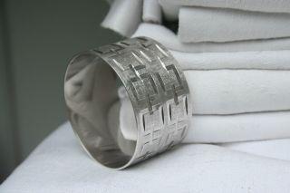 Napkin Ring English Silver Great 1960s Design photo