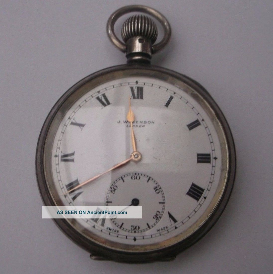 Antique Silver Pocket Watch J.  W.  Benson Stamped Weight 104.  3g Sub Dial Pocket Watches/Chains/Fobs photo