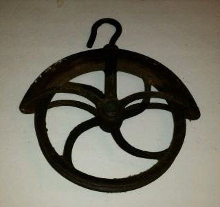 Antique Farm Well Pulley Old Wheel Rustic Iron Hay Loft Vintage 1800's No.  10 photo