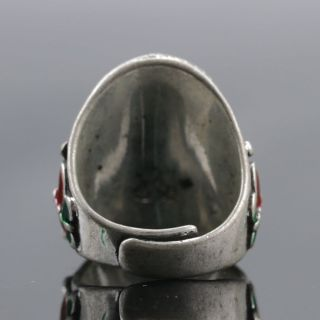 Chinese Exquisite Tibet Silver Inlaid Crystal Handwork National Fashion Ring photo