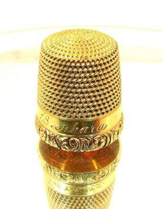 Antique Simons Gold Thimble 14k Engraved Barbara C.  1880 photo