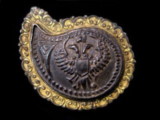 Magnificent Antique Bull Horn Ornate Silver Gilt Buckle, photo