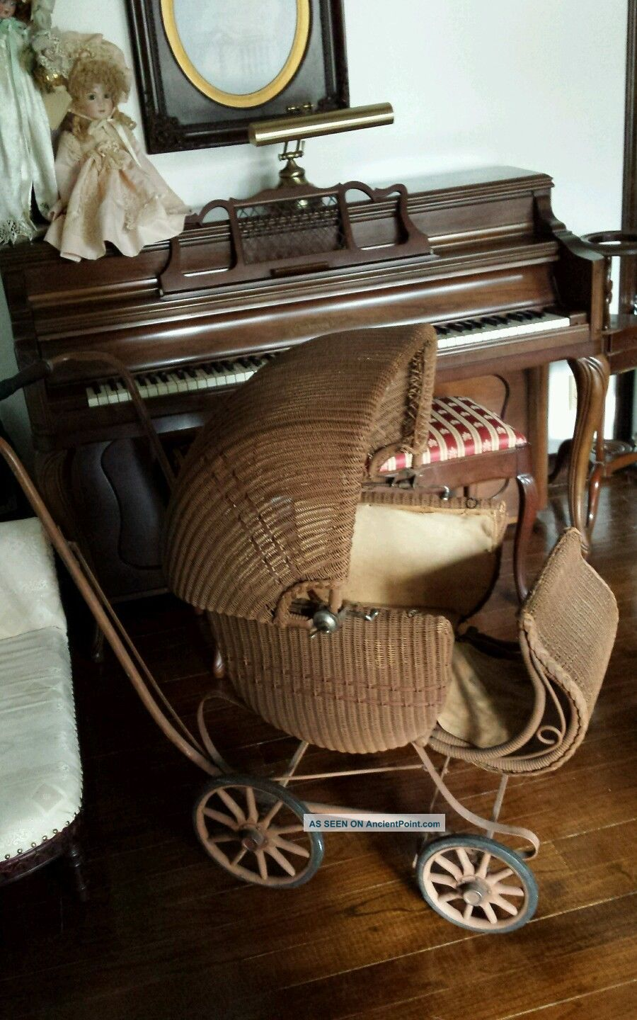 Vintage 1920s Heywood Wakefield Wicker Rattan Baby Stroller Carriage Buggy Baby Carriages & Buggies photo