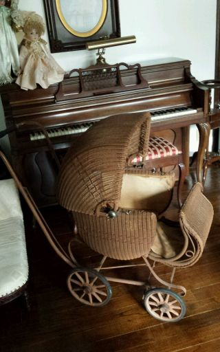 Vintage 1920s Heywood Wakefield Wicker Rattan Baby Stroller Carriage Buggy photo