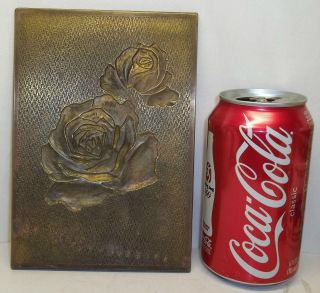 Vintage Solid Brass Printing Plate Greeting Cards Engraved Roses Larry Kushlin photo