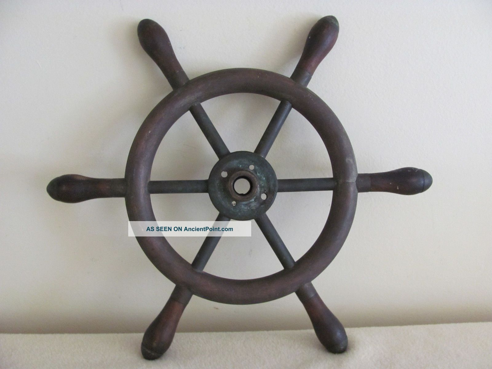 Antique Brass Wood Nautical Ship Boat Steering Wheel - Pat.  Date - 1884 Wheels photo