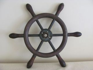Antique Brass Wood Nautical Ship Boat Steering Wheel - Pat.  Date - 1884 photo