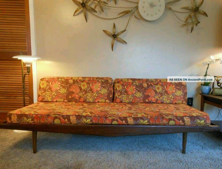 Vtg Teak Mid Century Modern Daybed Sofa Adrian Pearsall Danish Peter Hvidt Retro Post-1950 photo