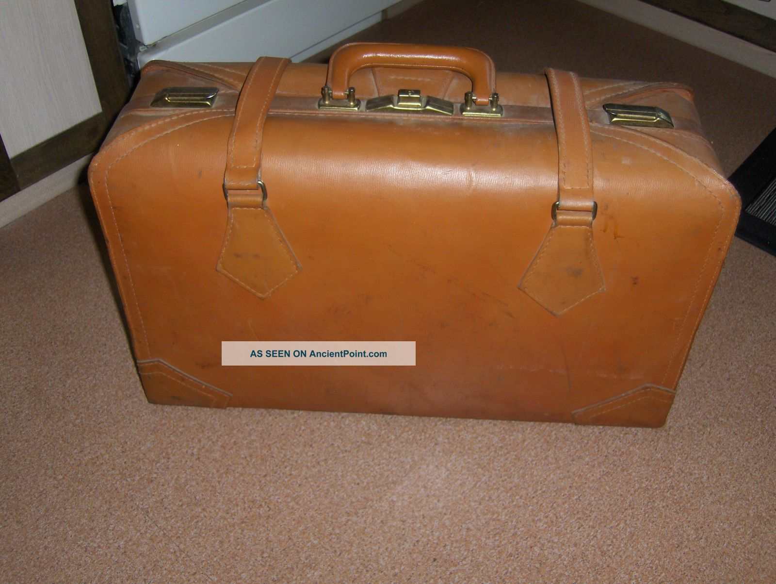 Vintage Antique Suitcase Luggage Doctor Bag Brown 1900-1950 photo