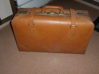 Vintage Antique Suitcase Luggage Doctor Bag Brown photo