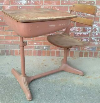 Vintage Child ' S School Desk & Chair Wood And Metal American Seating Co photo
