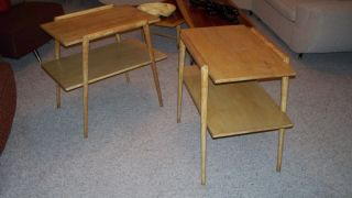 Vintage Pair Mersman End Tables In Light Wood Mid Century Modern photo