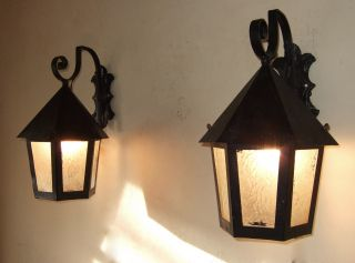 Antique Vintage French Iron And Glass Lanterns With Wall Brackets photo