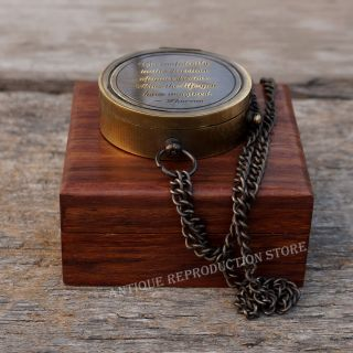 Compass Brass Antique Vintage Nautical Style Pocket Compass Gift With Wood Box photo