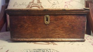 Antique Small Oak Box photo