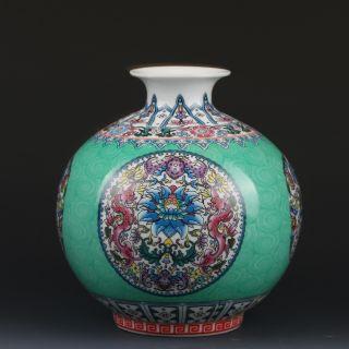Chinaese Enamel Color Porcelain Hand - Painted Vase W Qianlong Mark G222 photo