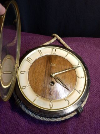 Vtg.  Rare Wooden Midcentury Rope Nautic Hanging Wind - Up Clock Watch Emes Germany photo
