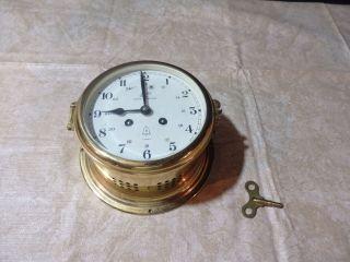 Vintage Schatz Royal Mariner 8 Days German Ships Clock 11 Jewels Brass Nautical photo