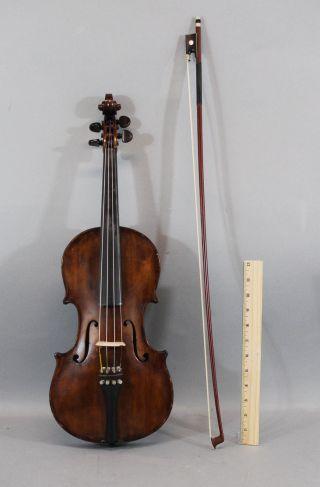 Antique German,  Stradivarius Copy,  4/4 Figured Maple Violin & L.  Bausch Bow Nr photo
