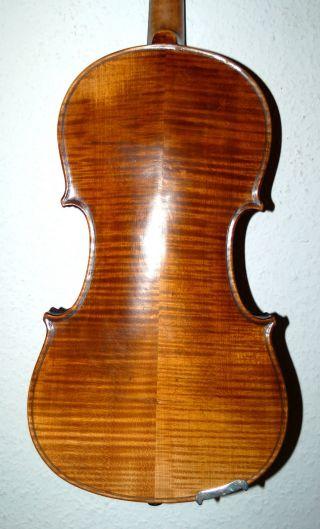 Very Old Handmade German 4/4 Violin - Flamed - Around 1880 photo
