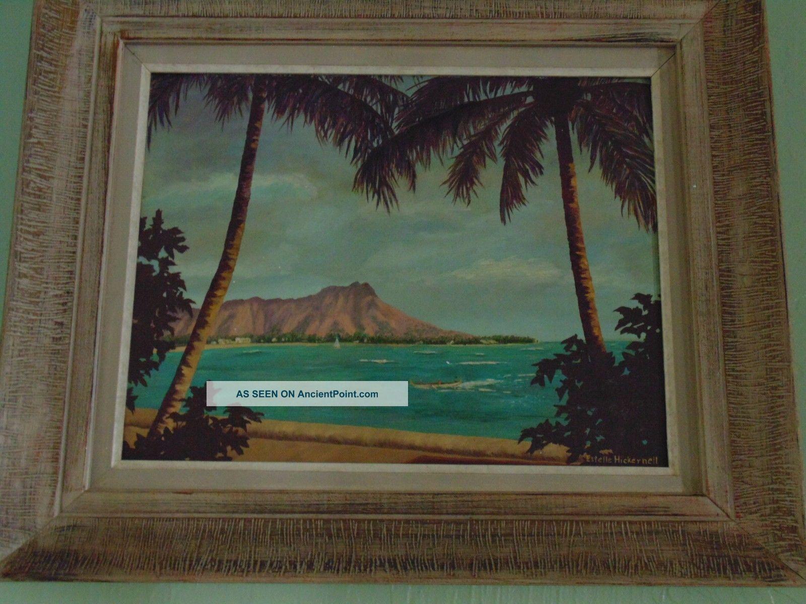 Vintage Diamond Head Waikiki Hawaii Oil Painting Signed Estelle Hickernell Folk Art photo