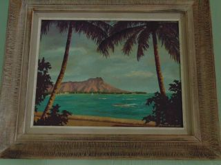 Vintage Diamond Head Waikiki Hawaii Oil Painting Signed Estelle Hickernell photo