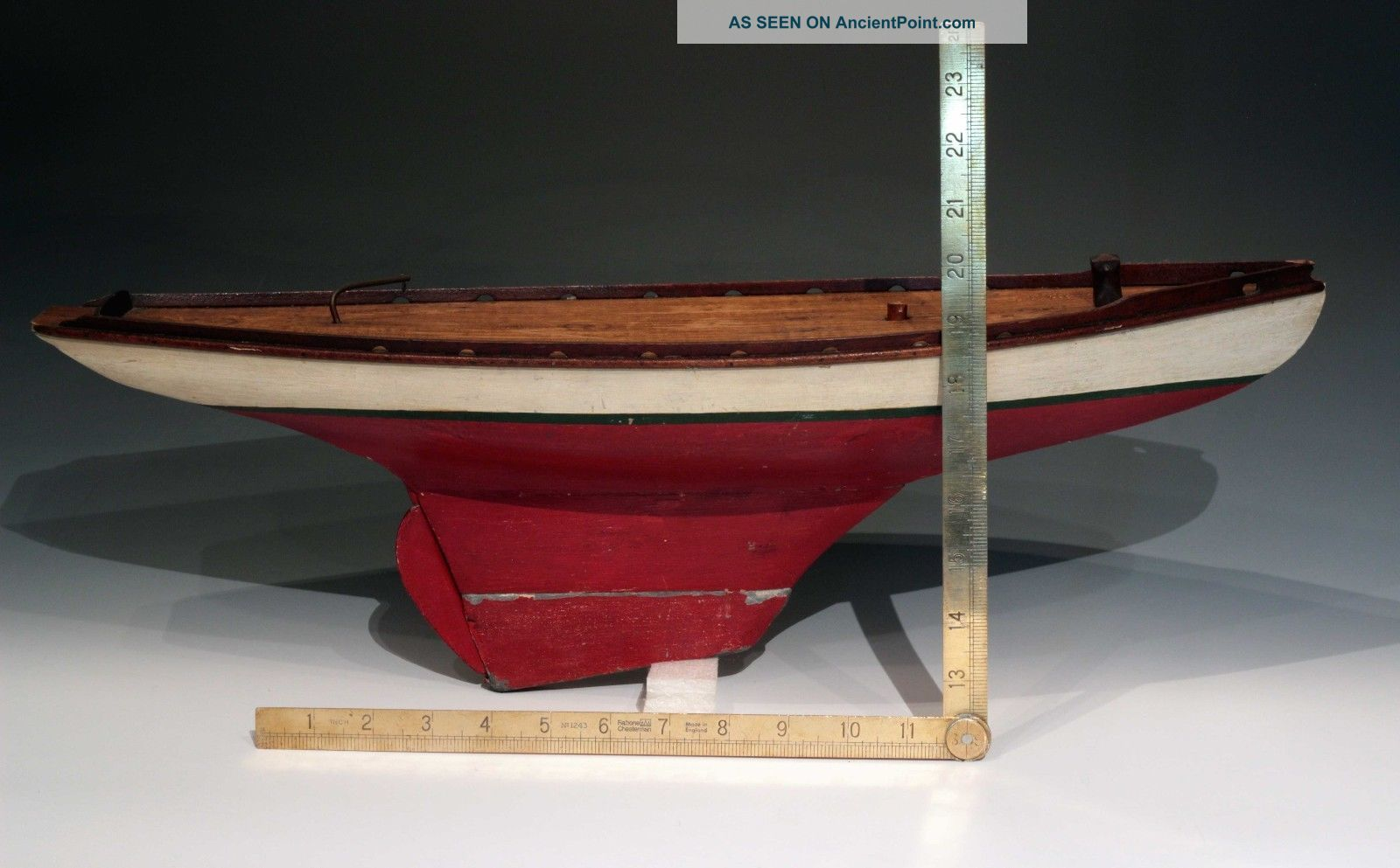 Antique Pond Boat,  With Rudder And Lead Keel.  Great Deck Details. Model Ships photo