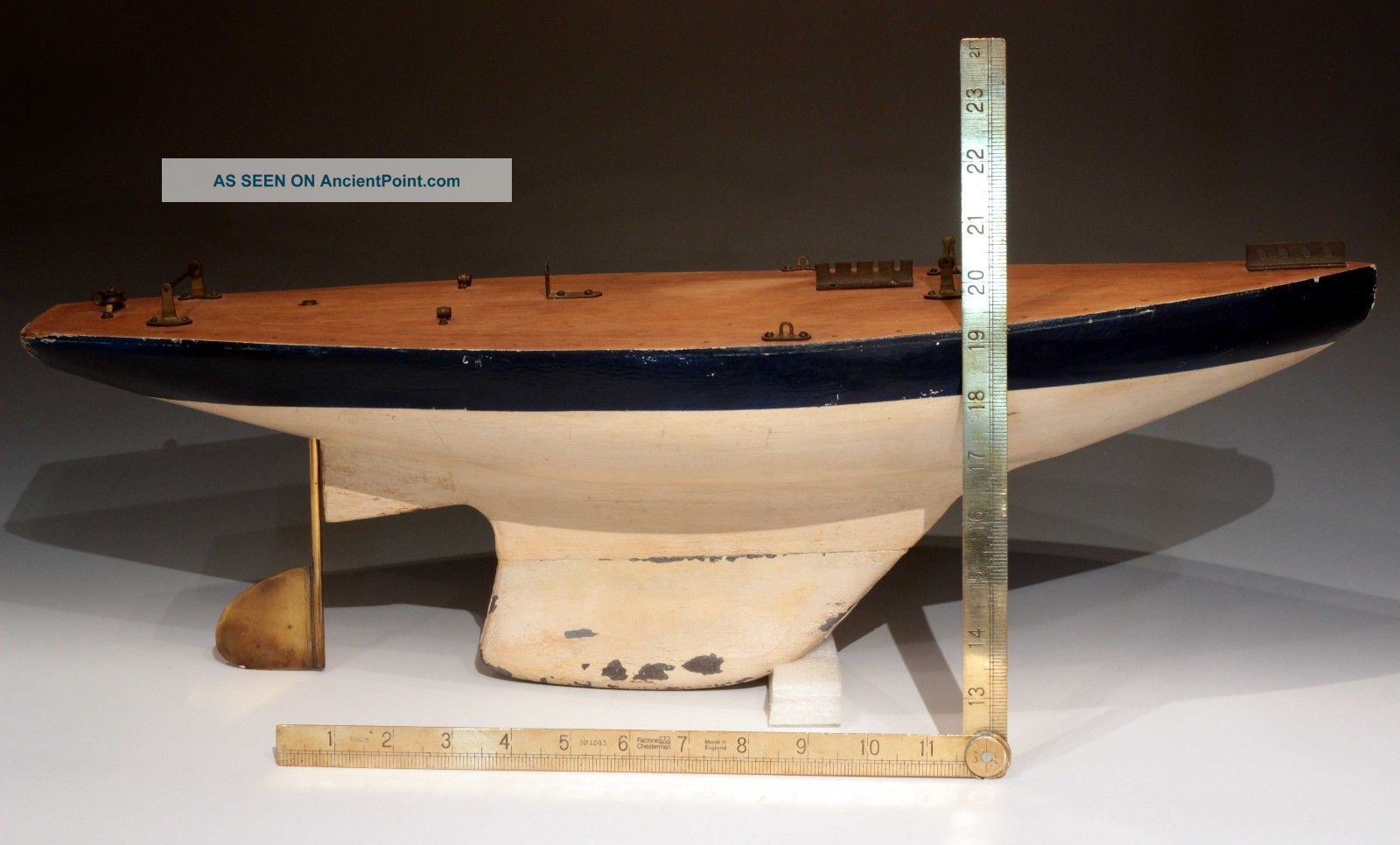 Antique Pond Boat,  With Deck Hardware And Lead Keel. Model Ships photo