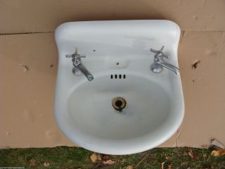 Antique Vintage Standard White Cast Iron Porcelain Sink Bathroom Plumbing 1918 photo