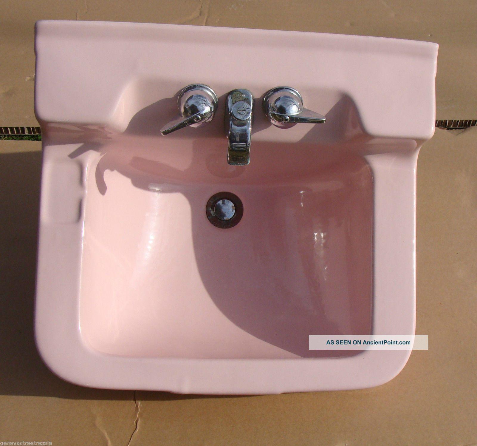 Vintage Crane Oxford Retro Pink Bathroom Kitchen Porcelain Sink Mid Century Sinks photo