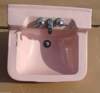 Vintage Crane Oxford Retro Pink Bathroom Kitchen Porcelain Sink Mid Century photo