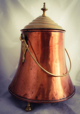 Antique Dutch Fireplace Ash Bin,  Coal Bucket,  Water Scuttle