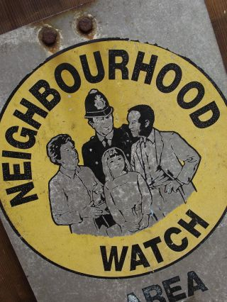Old 1980s Neighbourhood Watch Sign Notice Old Retro Vintage Reclaimed House photo