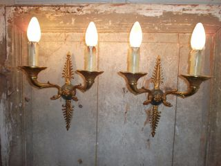 French Stunning Antique A Sconces Wall Light Ornately Chateau - Swans photo