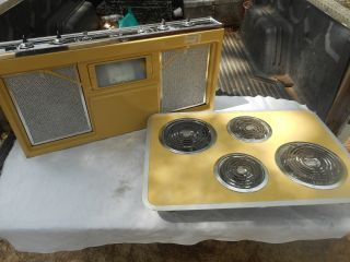 1977 Vintage Yellow General Electric Custom 36 Range Hood & Stove Cook Top photo