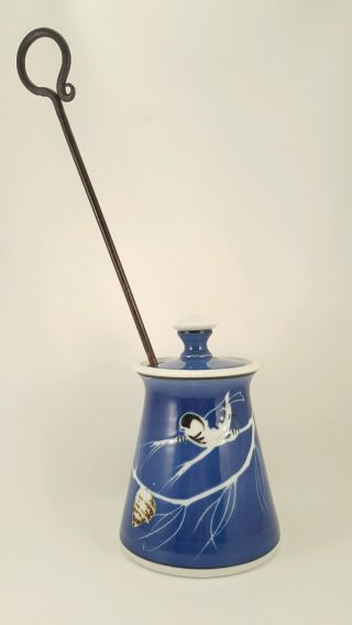 Ceramic Handmade Fire Starter Smudge Pot W/ Pumice Stone Iron Rod Blue Bird photo