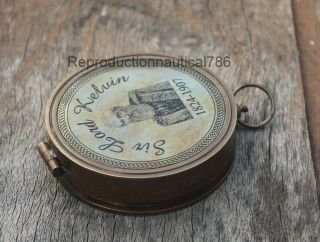 Antique Brass Camping Compass Marine Sir Lord Kelvin Tabletop Decor Collectible photo