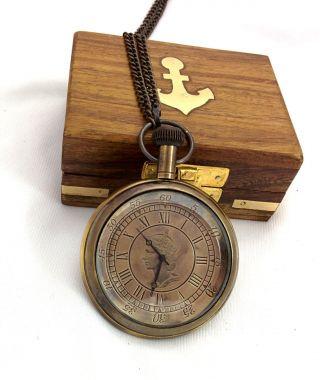 Artshai Queen Pocket Watch With Sheesham Wodden Box,  Antique Style photo