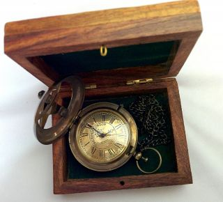 Artshai Victoria London Design Pocket Watch With Chain And Sheesham Wood Box photo