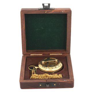 Artshai Sundial Artshai Anique Look Brass Pocket Watch With Chain&wood Box photo