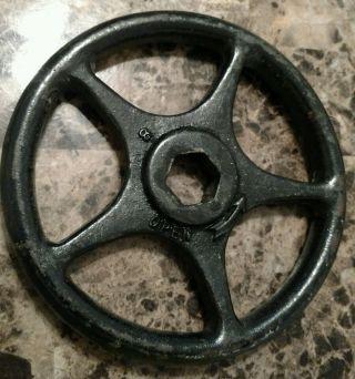 Vintage Large Cast Iron Industrial Valve Handle Wheel Gear Steampunk Art (rt) photo