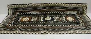 "Vintage Tapa Cloth 49"" X 24"" Polynesian/fijian/south Pacific W/geometric Design photo"